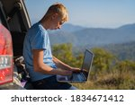 young man resting in nature... | Shutterstock . vector #1834671412