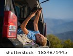 young man resting in nature... | Shutterstock . vector #1834671445
