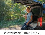 a young man is resting in... | Shutterstock . vector #1834671472