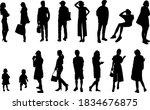 vector set of silhouette people ... | Shutterstock .eps vector #1834676875