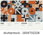 swiss poster design template... | Shutterstock .eps vector #1834732228