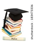 a mortarboard on a book stack ...   Shutterstock . vector #183473336