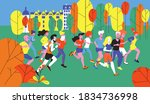 running diverse group of young... | Shutterstock .eps vector #1834736998