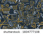 seamless stylized african... | Shutterstock .eps vector #1834777108