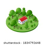 country farm trees natural... | Shutterstock . vector #1834792648