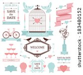 vintage collection of vector... | Shutterstock .eps vector #183480152