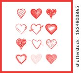 doodle hearts  hand drawn love... | Shutterstock .eps vector #1834803865
