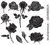 set of silhouette image rose... | Shutterstock . vector #183480815