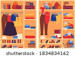 messy clothes in wardrobe. open ... | Shutterstock .eps vector #1834834162