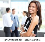face of beautiful woman on the... | Shutterstock . vector #183483458