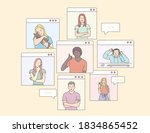 concept of videoconference and... | Shutterstock .eps vector #1834865452