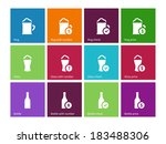beer icons on color background. ...