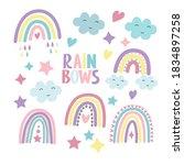 set of multicolored rainbows ...   Shutterstock .eps vector #1834897258