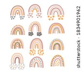 set of pastel brown rainbows... | Shutterstock .eps vector #1834901962
