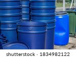 Huge Blue Buckets Stand On...