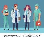 set of doctor characters ... | Shutterstock .eps vector #1835036725