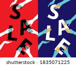 sale poster with hands holding... | Shutterstock .eps vector #1835071225