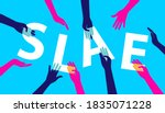 sale poster with hands holding... | Shutterstock .eps vector #1835071228