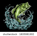 bass fish illustration drawing... | Shutterstock . vector #1835081302