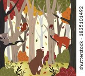 cute animal in autumn forest... | Shutterstock .eps vector #1835101492
