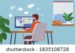 work at home. freelancer man... | Shutterstock .eps vector #1835108728