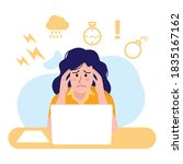 illustration of busy woman...   Shutterstock .eps vector #1835167162