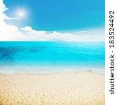 sun and island beach. summer... | Shutterstock . vector #183524492