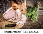 Closeup of fresh piece of smoked ham - stock photo