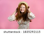 Young Smiling Woman With Red...