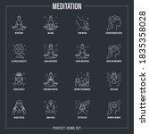 meditation set  girl in lotus...   Shutterstock .eps vector #1835358028