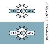 linear logo with fish icon and... | Shutterstock .eps vector #1835457238