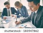 portrait of a businessman in... | Shutterstock . vector #183547862