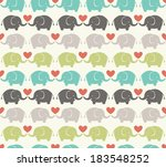 Stock vector seamless elephant cartoon pattern 183548252
