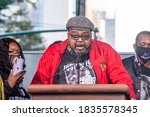 Small photo of NEW YORK, NY – OCTOBER 17: Jacob Blake's father Jacob Blake Sr. speaks at National State of Emergency Get Out the Vote Rally organized by UntilFreedom on October 17, 2020 in New York City.