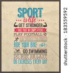 sport is life. vector... | Shutterstock .eps vector #183559592