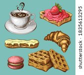 pastry with coffee clipart.... | Shutterstock .eps vector #1835613295