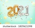 2021 golden decoration holiday...   Shutterstock .eps vector #1835621398