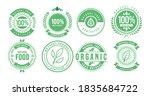 100  natural badge label... | Shutterstock .eps vector #1835684722