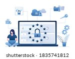 business woman uses laptop. big ...   Shutterstock .eps vector #1835741812
