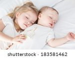 charming little brother and... | Shutterstock . vector #183581462