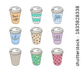 paper coffee cups collection....   Shutterstock .eps vector #1835828338
