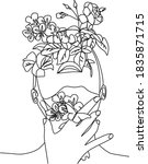 flower girl vector one line...   Shutterstock .eps vector #1835871715