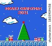 christmas greeting card pixel...   Shutterstock .eps vector #1835909458