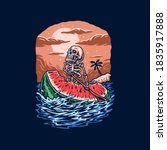 skeleton ride watermelons ... | Shutterstock .eps vector #1835917888