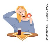 smiling blonde woman eating...   Shutterstock .eps vector #1835925922