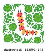 cute caterpillar with floral ... | Shutterstock .eps vector #1835934148