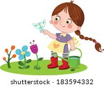 girl and flowers | Shutterstock .eps vector #183594332