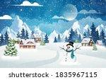 evening village winter... | Shutterstock .eps vector #1835967115