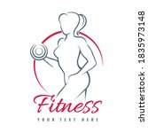 fitness logo with contour of... | Shutterstock .eps vector #1835973148