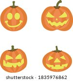 pumpkins with faces for... | Shutterstock .eps vector #1835976862